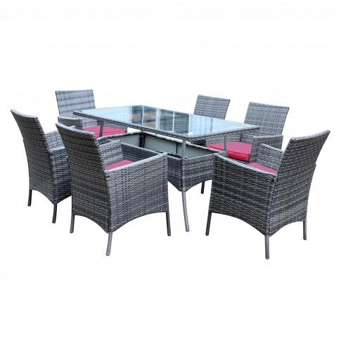 Set masa dreptunghiulara, cu 6 scaune cu perne, pentru gradina York, din metal cu ratan sintetic