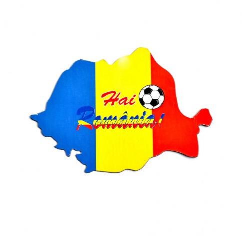Magnet in forma de harta Romaniei, Hai Romania, 12.3 x 8.5 cm