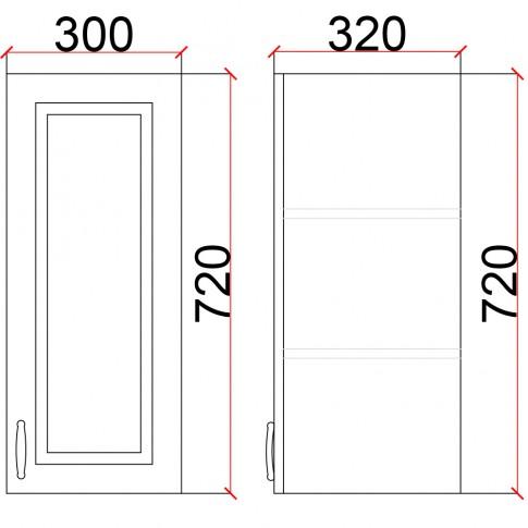 Corp superior bucatarie Martplast 1002, furnir diverse culori, 40 x 32 x 72 cm