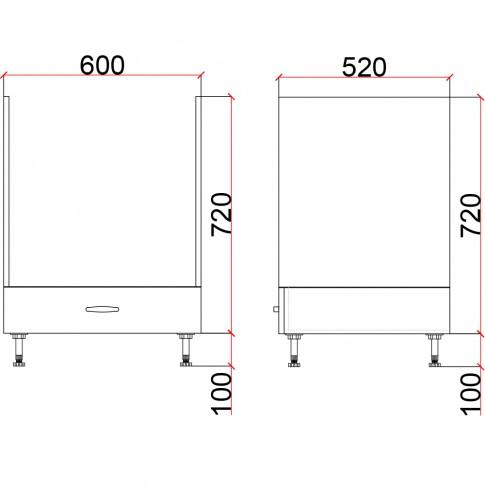 Corp inferior bucatarie Martplast 3006, pentru cuptor, furnir diverse culori, 60 x 52 x 82 cm