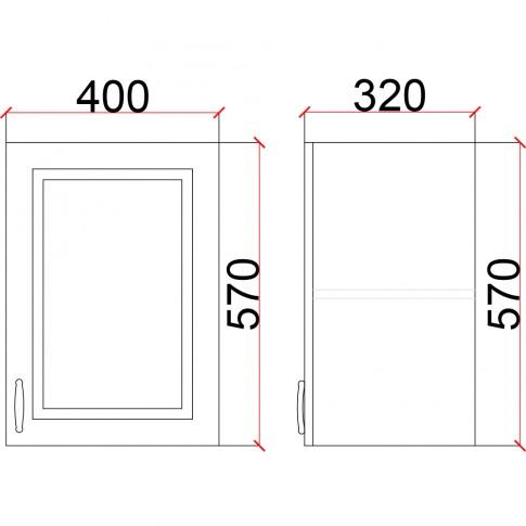 Corp superior bucatarie Martplast 1004, furnir diverse culori, 40 x 32 x 57 cm