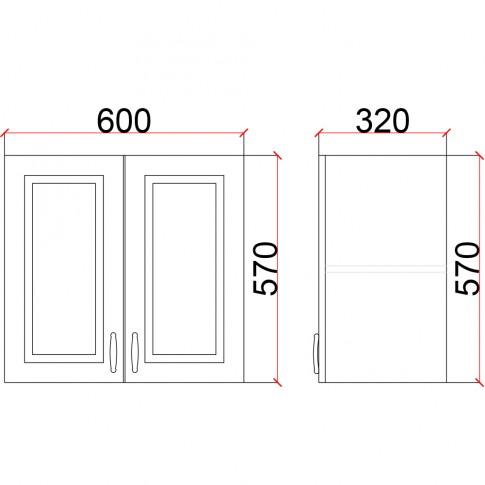 Corp superior bucatarie Martplast 1006(1), furnir diverse culori, 60 x 32 x 57 cm