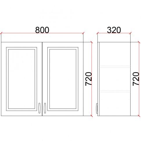 Corp superior bucatarie Martplast 1007, furnir diverse culori, 80 x 32 x 72 cm