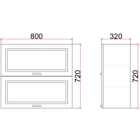 Corp superior bucatarie Martplast 1010, furnir diverse culori, 80 x 32 x 72 cm