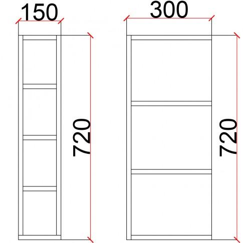 Corp superior bucatarie Martplast 1016, furnir diverse culori, 15 x 30 x 72 cm