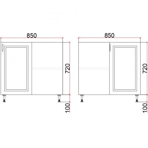 Corp inferior bucatarie Martplast 2013, pe colt, furnir diverse culori, 85 x 85 x 82 cm