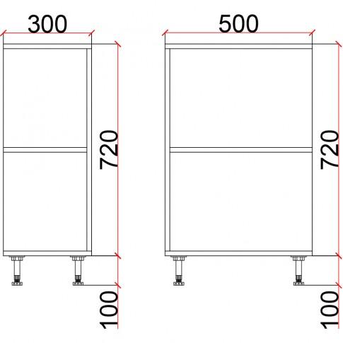 Corp inferior bucatarie Martplast 2014, furnir diverse culori, 30 x 50 x 82 cm