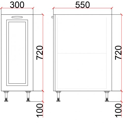 Corp inferior bucatarie Martplast 3004, furnir diverse culori, 30 x 55 x 82 cm