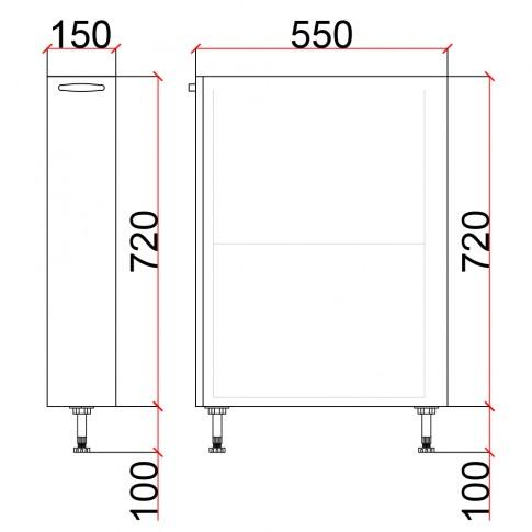 Corp inferior bucatarie Martplast 3005, furnir diverse culori, 15 x 55 x 82 cm
