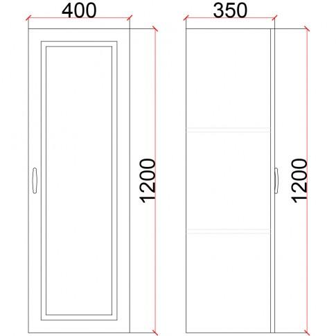 Corp suspendat vertical pe stanga Valentino LV5, furnir diverse culori, 40 x 35 x 120 cm, 1C