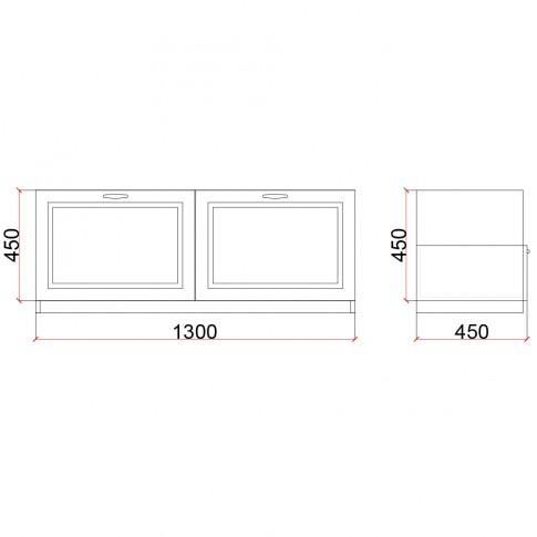 Corp inferior Valentino 1300 LV15, furnir diverse culori, 130 x 45 x 45 cm, 1C