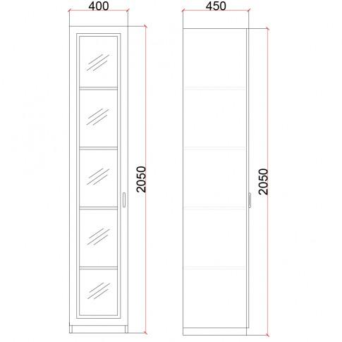Vitrina living cu usa sticla Valentino LV19, furnir diverse culori, 40 x 45 x 205 cm, 1C
