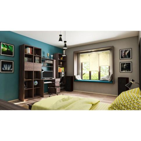 Dulap camera tineret Natalia T1, cu rafturi + 2 sertare, furnir diverse culori, 40 x 215 x 35 cm, 1C