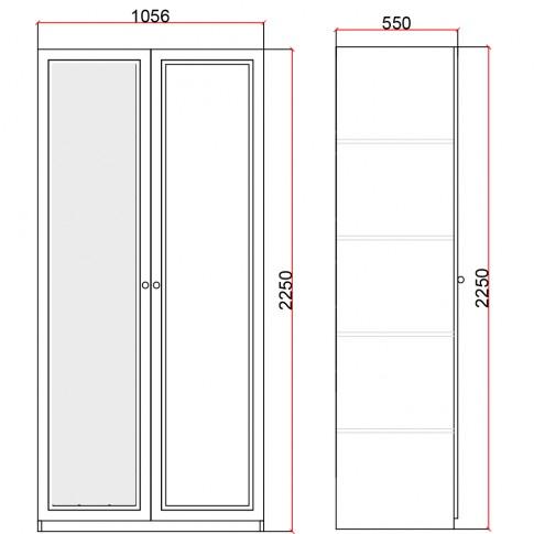 Dulap dormitor Stefan DS4, furnir diverse culori, 2 usi, cu oglinda, 105.5 x 55 x 225 cm, 2C