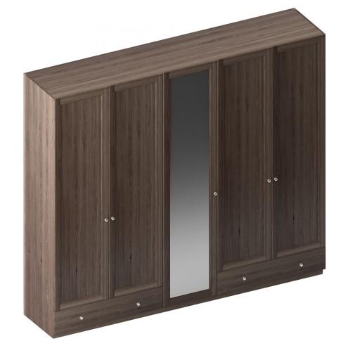 Dulap dormitor Stefan DS5, furnir diverse culori, 5 usi, cu oglinda, 255.5 x 55 x 225 cm, 4C