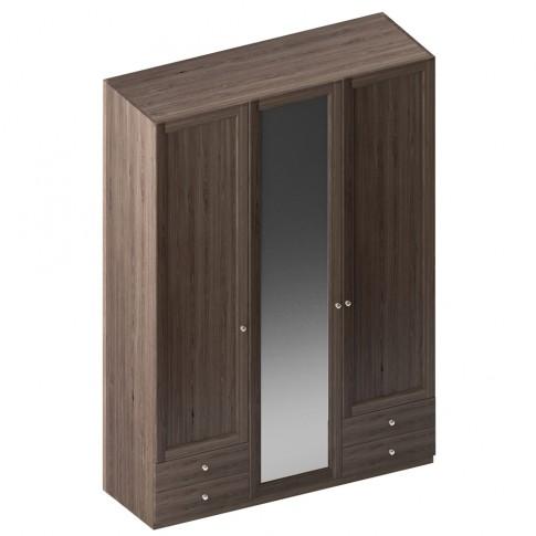 Dulap dormitor Stefan DS6, furnir diverse culori, 3 usi, cu oglinda, 155.5 x 55 x 225 cm, 4C