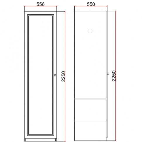 Dulap dormitor Stefan DS10, furnir diverse culori, o usa, 55.5 x 55 x 225 cm, 1C