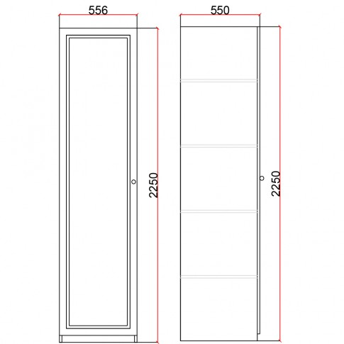Dulap dormitor Stefan DS12, furnir diverse culori, o usa, 55.5 x 55 x 225 cm, 1C