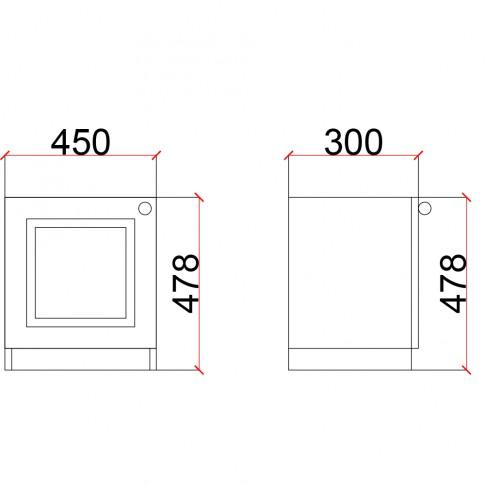 Noptiera Stefan DS9, cu o usa, furnir diverse culori, 45 x 48 x 30 cm