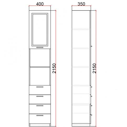 Dulap camera tineret Natalia T2.1, cu o usa + 4 sertare, furnir diverse culori, 40 x 215 x 35 cm, 1C