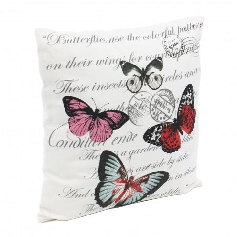 Perna decor N-8326, multicolor, bumbac + poliester, cu print fluturi, 40 x 40 cm
