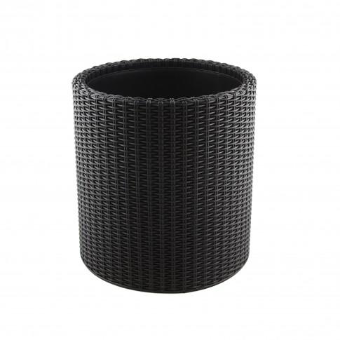 Ghiveci din plastic cu finisaj ratan sintetic Curver, pentru exterior, negru D 28 cm