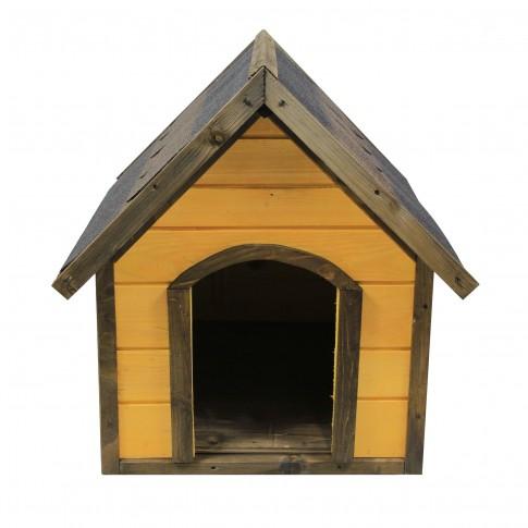 Cusca pentru caini talie medie, Premium Laur, din lemn, 87.5 x 74.5 x 84 cm