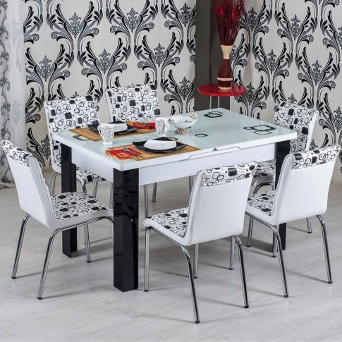 Set masa extensibila cu 6 scaune tapitate R344 bucatarie, alb + negru, 3C