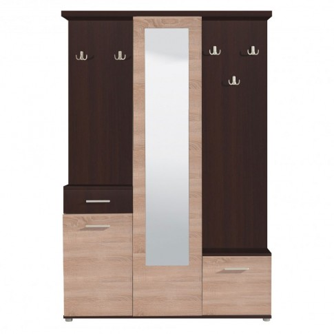 Cuier hol Martin cu 10 agatatori, oglinda, dulap si comoda, wenge + stejar sonoma, 3 usi, 1335 x 330 x 1975 mm, 2C