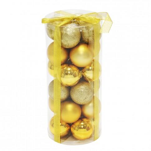 Globuri Craciun, aurii, diametru 6 cm, set 24 bucati, SD16-1A