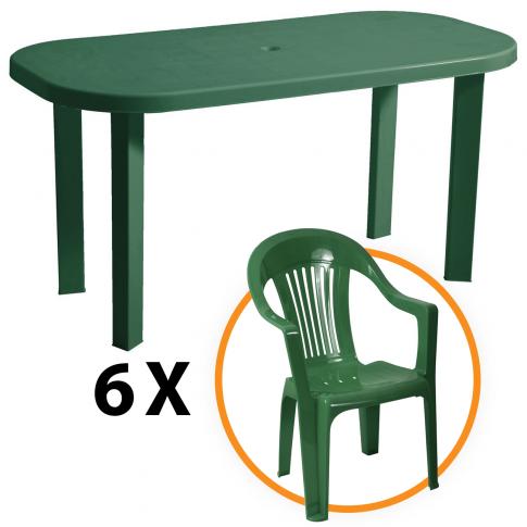 Set masa Garden + 6 scaune Sole, pentru gradina, verde, din plastic