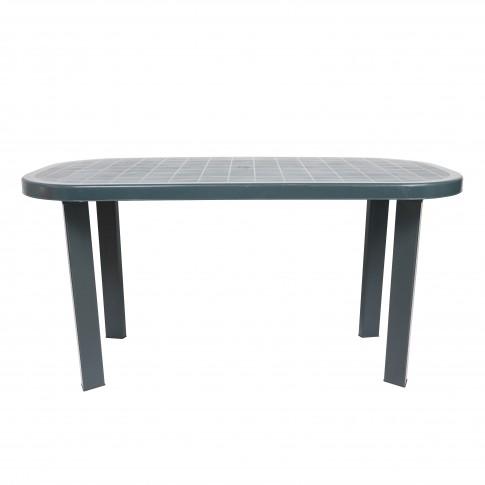 Masa fixa pentru gradina Garden, plastic, ovala, verde, 6 persoane, 140 x 70 x 70 cm