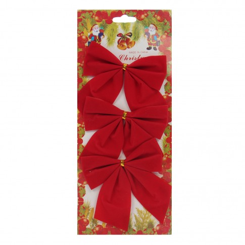 Fundite decorative Craciun, rosii, set 3 bucati, SY16HDJ-05