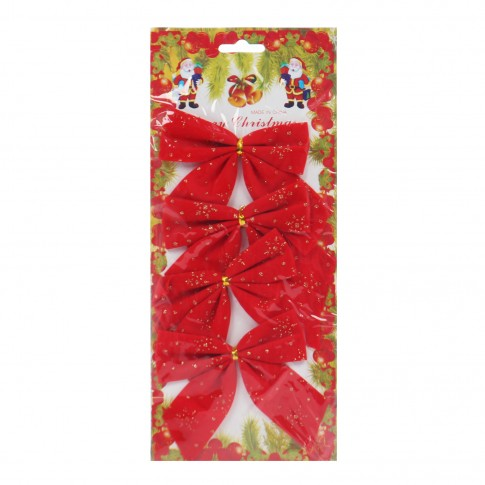 Fundite decorative Craciun, rosii, 10 x 10 cm, set 4 bucati, SY16HDJ-09