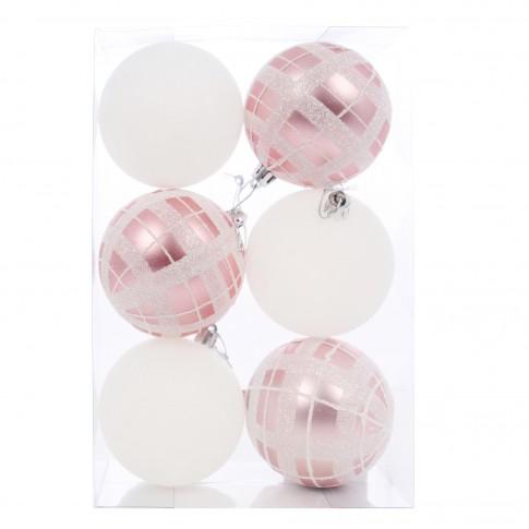 Globuri Craciun, roz, alb, diametru 8 cm, set 6 bucati, SY16CBA-226