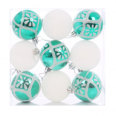 Globuri Craciun, verde + alb, D 6 cm, set 9 bucati, SY16CBA-350