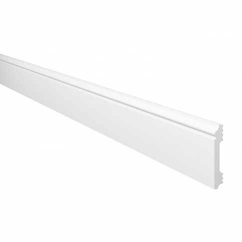 Plinta decorativa polimer dur Wallstyl FL1, alba, 200 x 8 x 1.2 cm