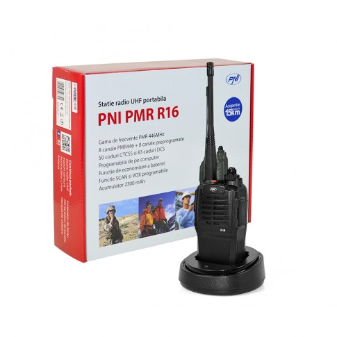 Statie radio emisie / receptie UHF portabila PNI PMR R16, acumulator Li-Ion, functie VOX, squelch reglabil, scanare canale, Time out Timer, blocare canal ocupat, apel de urgenta