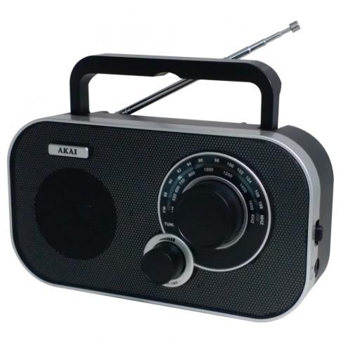 Radio analog FM / AM portabil Akai APR-5112, 1.5 W, alimentare retea sau baterii, Aux in, jack casti, antena telescopica