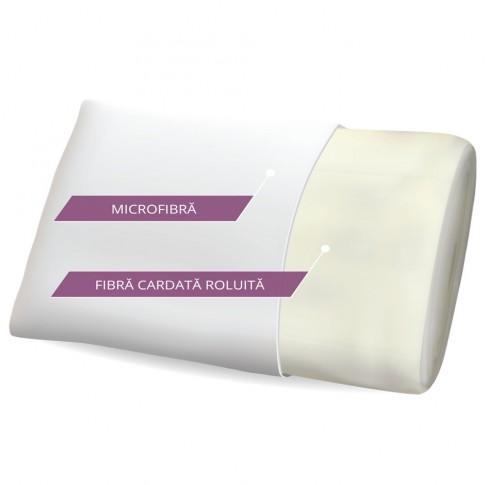 Perna pentru dormit Sonno Essential hipo-alergenica fibra cardata roluita + microfibra alb 50 x 70 cm