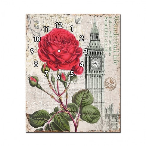 Tablou canvas cu ceas, TA13-PAC0985, stil floral, 60 x 40 cm