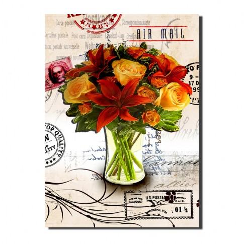 Tablou, compozitie cu flori, canvas, 50 x 40 cm
