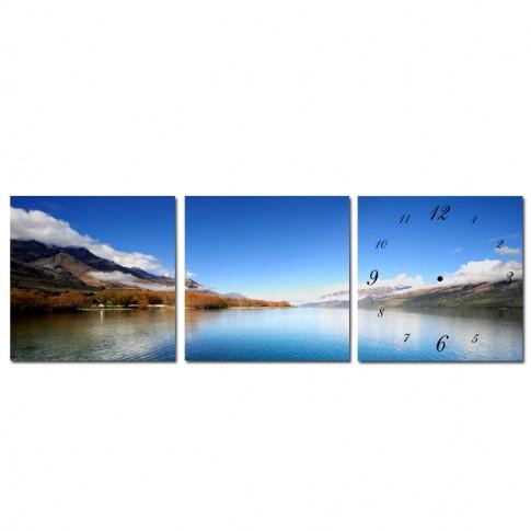 Tablou canvas cu ceas, 3 piese, TA13-PAC656, stil peisaj, 30 x 30 cm