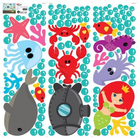 Sticker decorativ perete, camera copii, Lumea subacvatica, PT1276, 90 x 90 cm