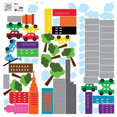 Sticker decorativ perete, camera copii, Orasul colorat, PT1254, 90 x 90 cm