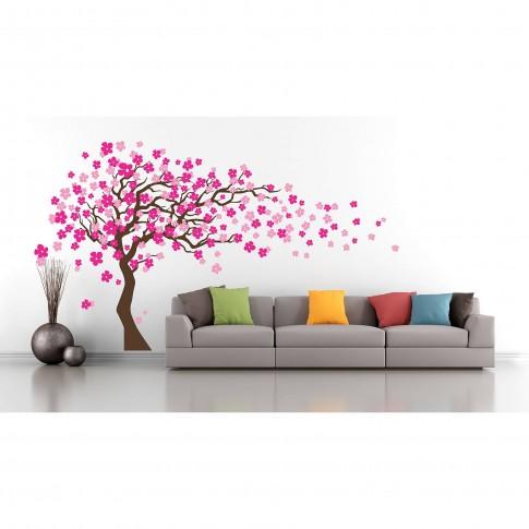 Sticker decorativ perete, camera copii/living/dormitor, Floare de cires, PT1452, 30 x 90 cm