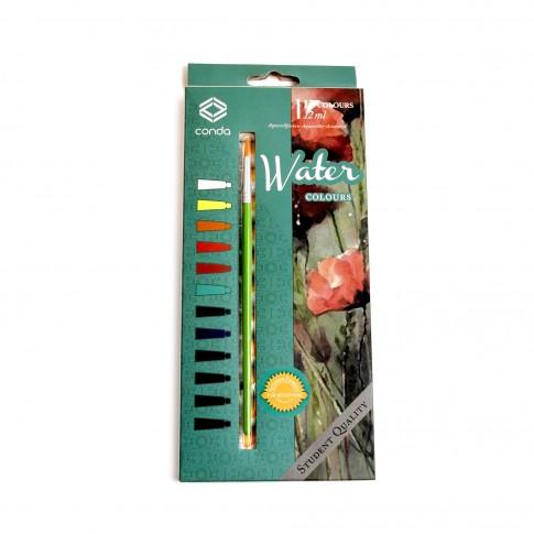 Acuarele tempera Watercolor + pensula, 12 ml/tub, set  12 bucati