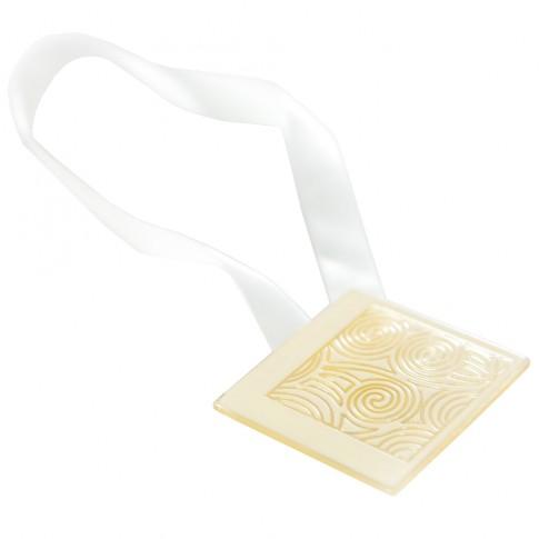 Magneti decorativi perdea Square, forma patrata, cu panglica de fixare, 5 x 5 x 0.01 cm, crem