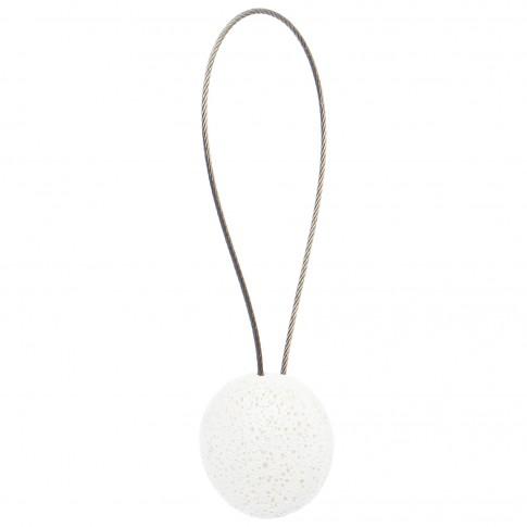Magneti decorativi perdea si draperie, Rock, forma rotunda, cu fir metalic de fixare, alb, 4 cm