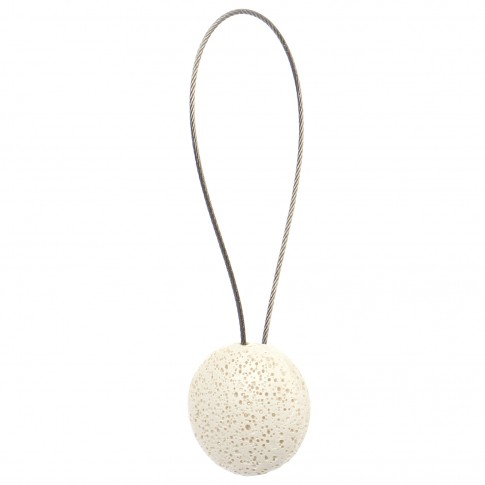 Magneti decorativi perdea si draperie, Rock, forma rotunda, cu fir metalic de fixare, crem, 4 cm